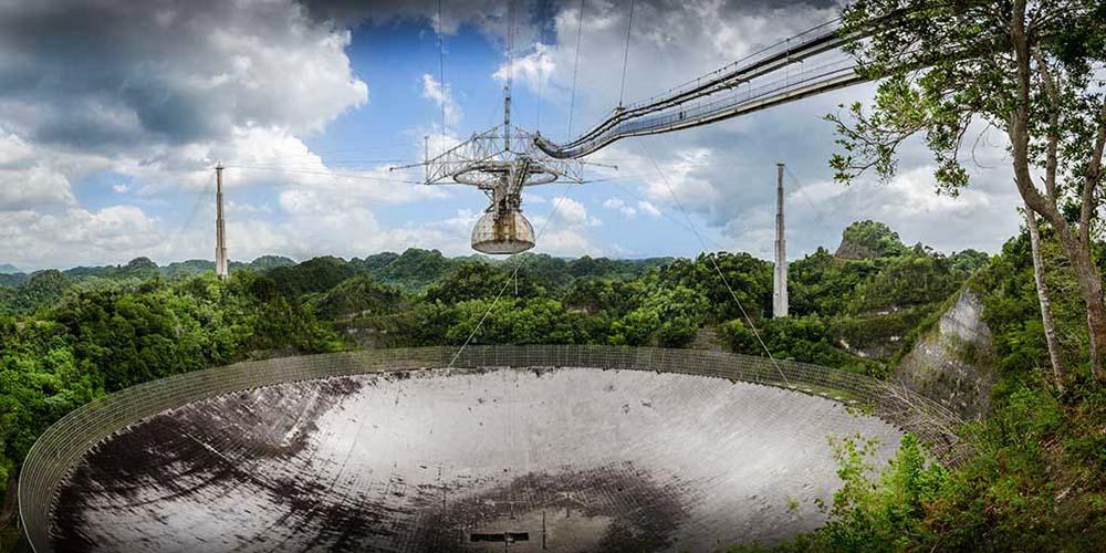 Vue du radiotélescope d'Arecibo