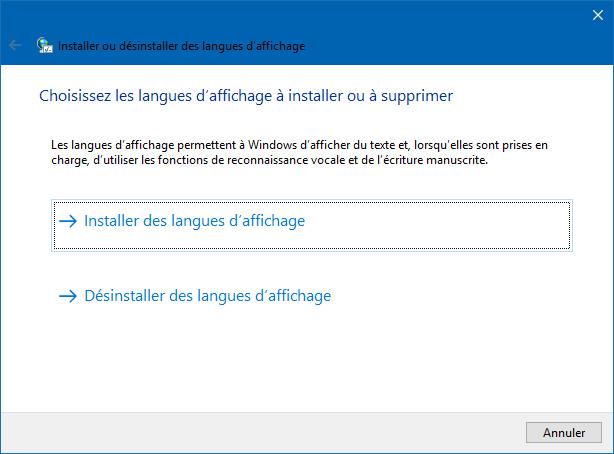 Installer ou désinstaller des langues d'affichage