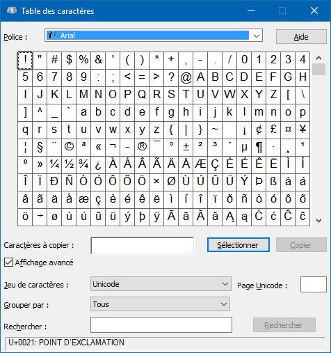 Table des caractères